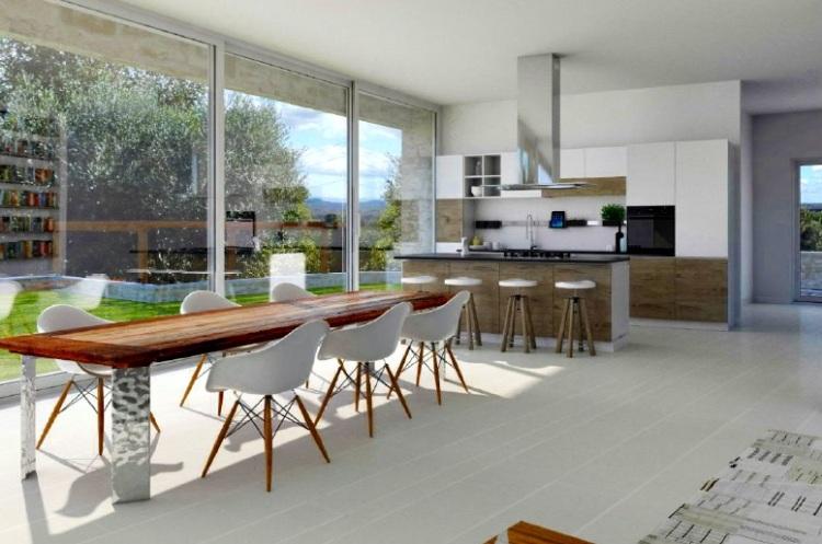 case prefabbricate in legno sala cucina